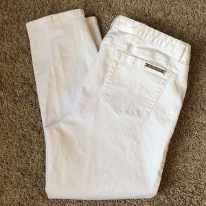 Michael Kors white crop skinny jeans